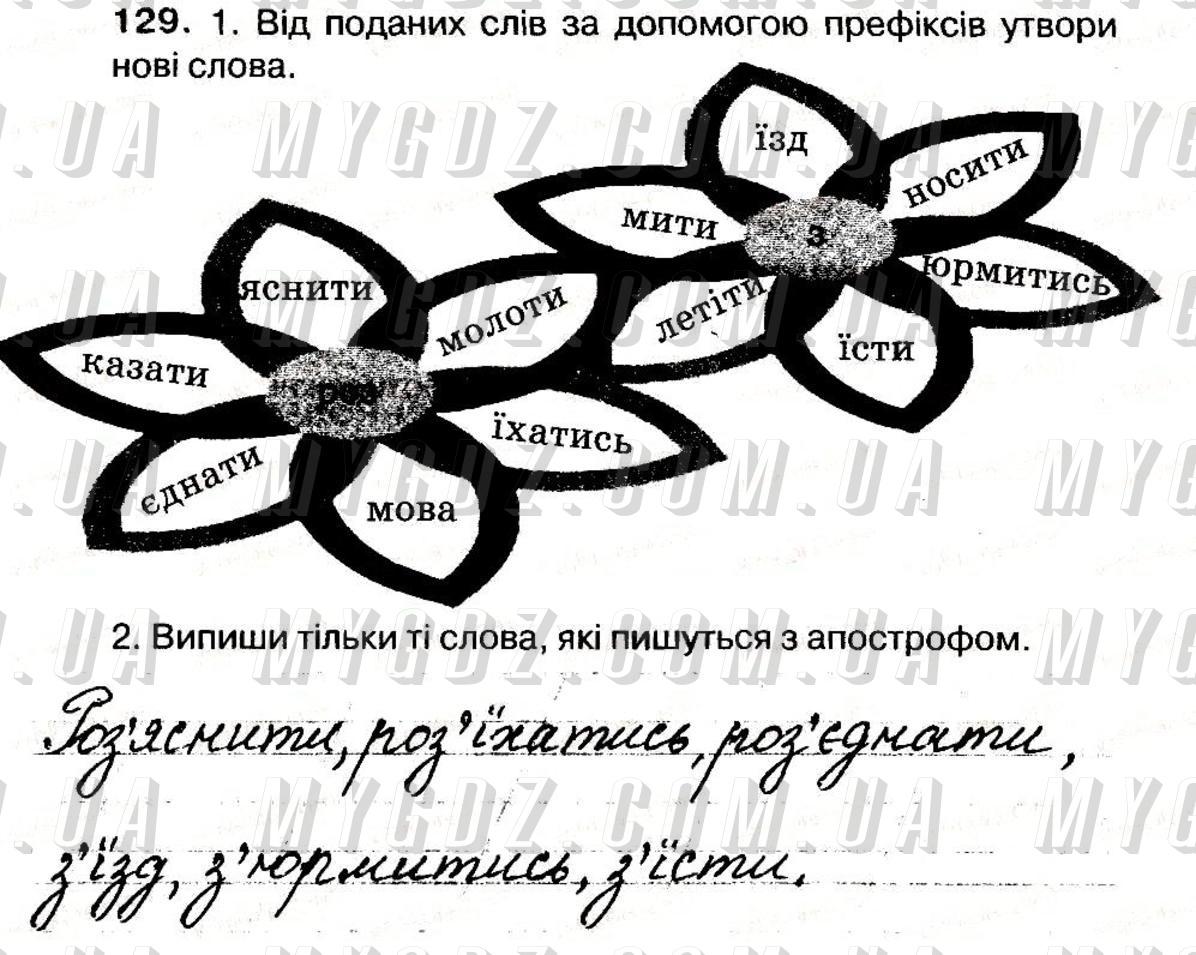 ГДЗ номер 129 до робочого зошита з української мови Вашуленко, Мельничайко 3 клас