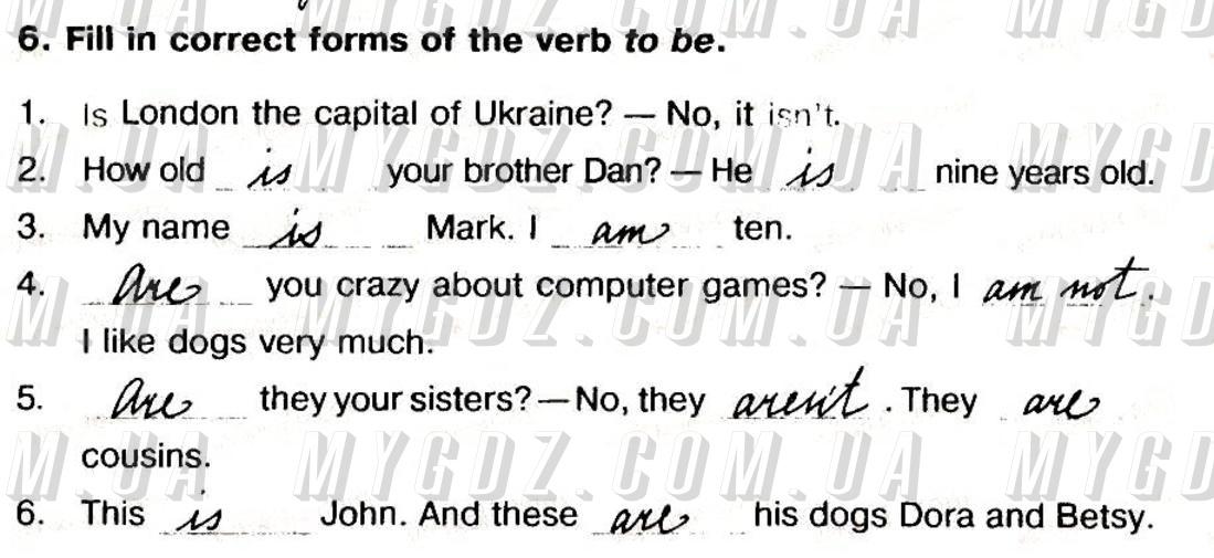 ГДЗ номер 6 до робочого зошита з англійської мови Косован, Вітушинська 5 клас
