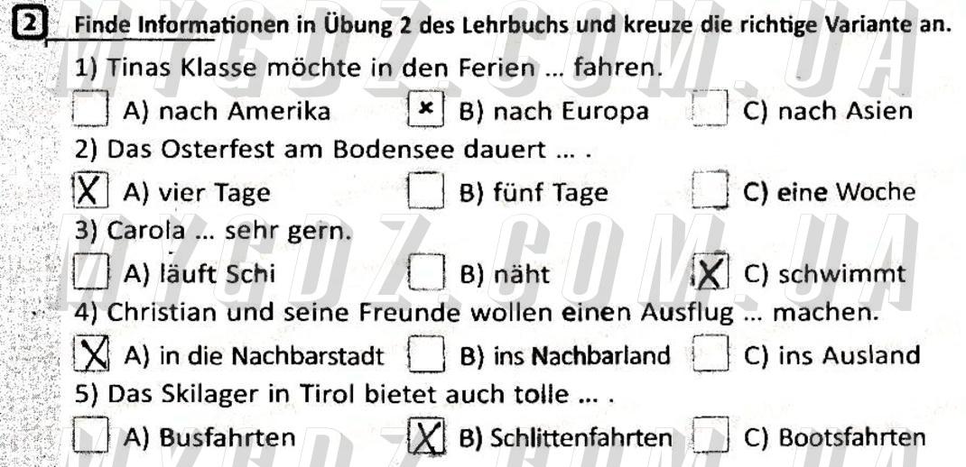 ГДЗ номер 2 до робочого зошита з німецької мови Сотникова, Гоголєва 5 клас