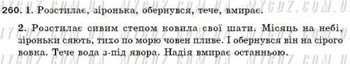 ГДЗ номер 260 до підручника з української мови Єрмоленко, Сичова 5 клас