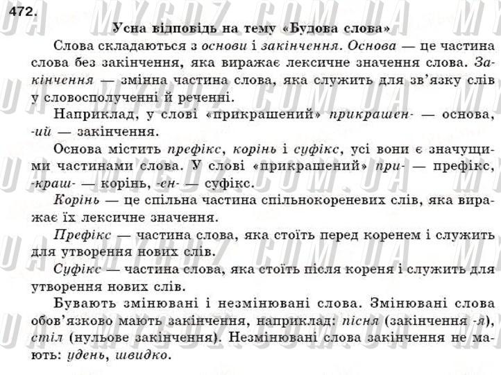 ГДЗ номер 472 до підручника з української мови Єрмоленко, Сичова 5 клас