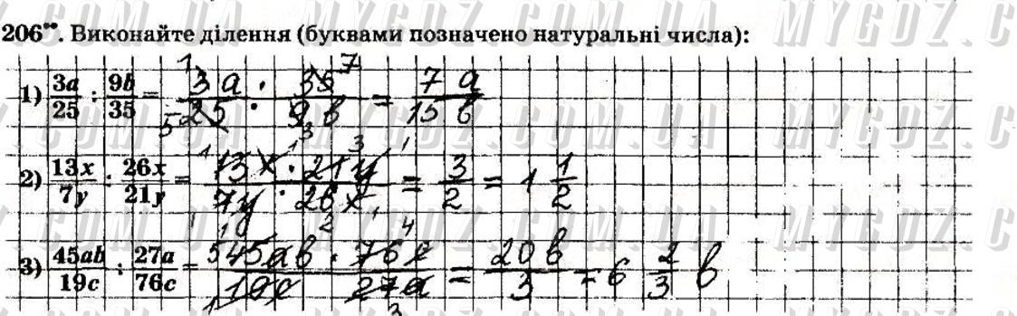 ГДЗ номер 206 до робочого зошита з математики Мерзляк, Полонський 6 клас
