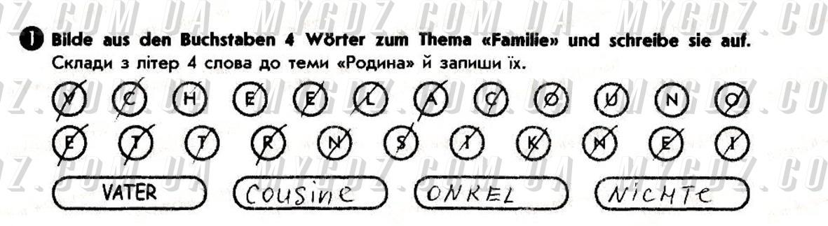 ГДЗ номер 1 до робочого зошита з німецької мови Сотникова, Білоусова 6 клас