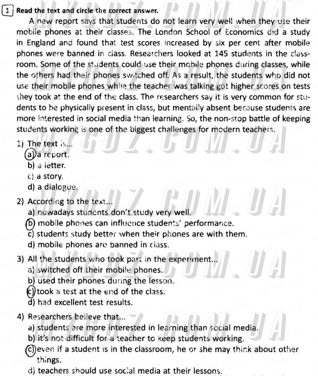 ГДЗ номер 1 до зошита для контролю рівня знань з англійської мови Мясоєдова 7 клас
