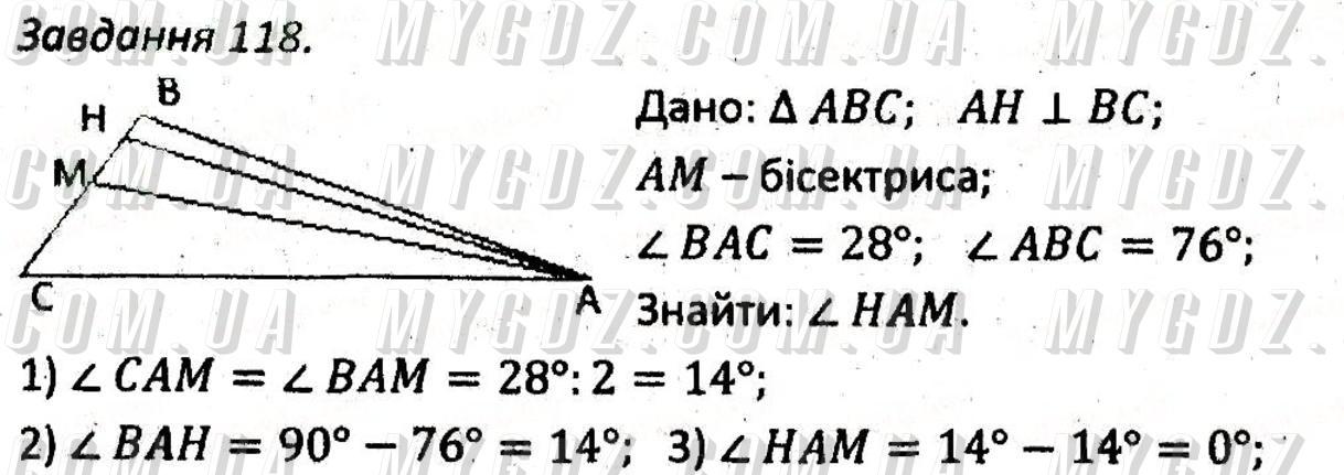 ГДЗ номер 118 до збірника задач і контрольних робіт з геометрії Мерзляк, Полонський 7 клас