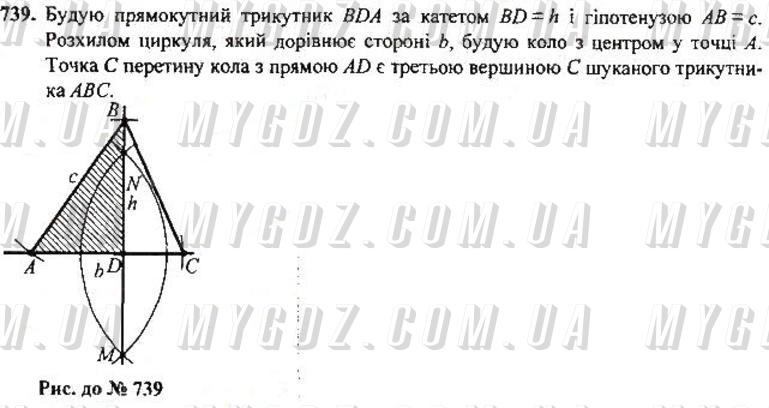 ГДЗ номер 739 до підручника з геометрії Бурда, Тарасенкова 7 клас