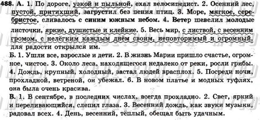 ГДЗ номер 488 до підручника з російської мови Полякова, Самонова 7 клас