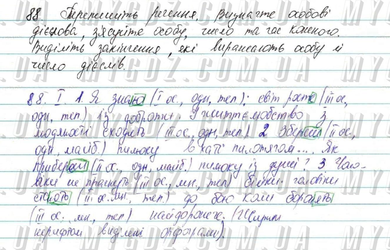 ГДЗ номер 88 до підручника з української мови Глазова 7 клас