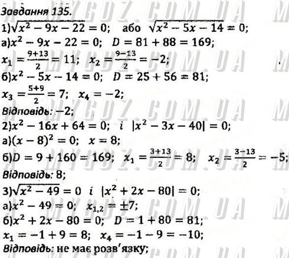 ГДЗ номер 135 до збірника задач і контрольних робіт з алгебри Мерзляк, Полонський 8 клас