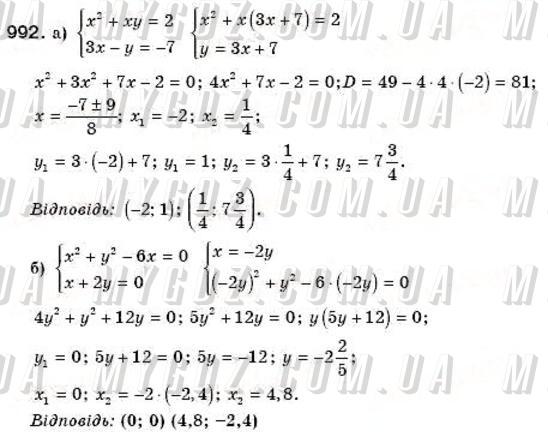 ГДЗ номер 992 до підручника з алгебри Бевз, Бевз 8 клас