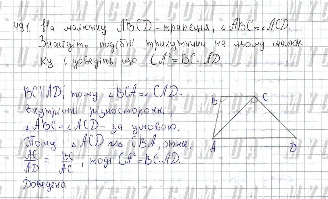 ГДЗ номер 491 до підручника з геометрії Істер 8 клас