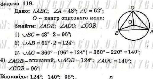 ГДЗ номер 119 до збірника задач і контрольних робіт з геометрії Мерзляк, Полонський 8 клас