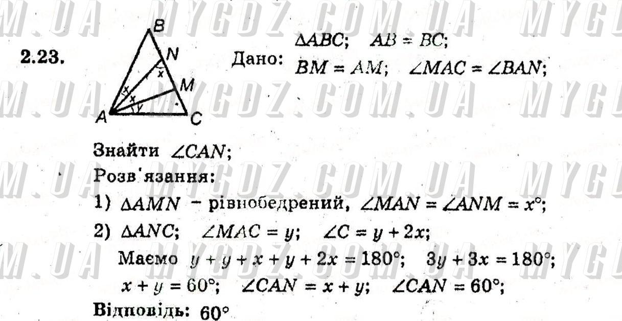 ГДЗ номер 23 до підручника з геометрії Мерзляк, Полонський 8 клас