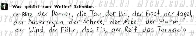 ГДЗ номер 1 до тестового зошита з німецької мови Сотникова 8 клас