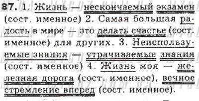 ГДЗ номер 87 до підручника з російської мови Давидюк, Статівка 8 клас