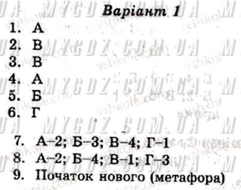 ГДЗ КР3 до тест-контролю з української літератури Марченко, Пастухова 8 клас
