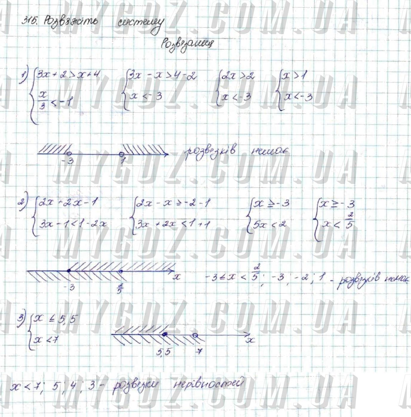 ГДЗ номер 315 до підручника з алгебри Істер 9 клас