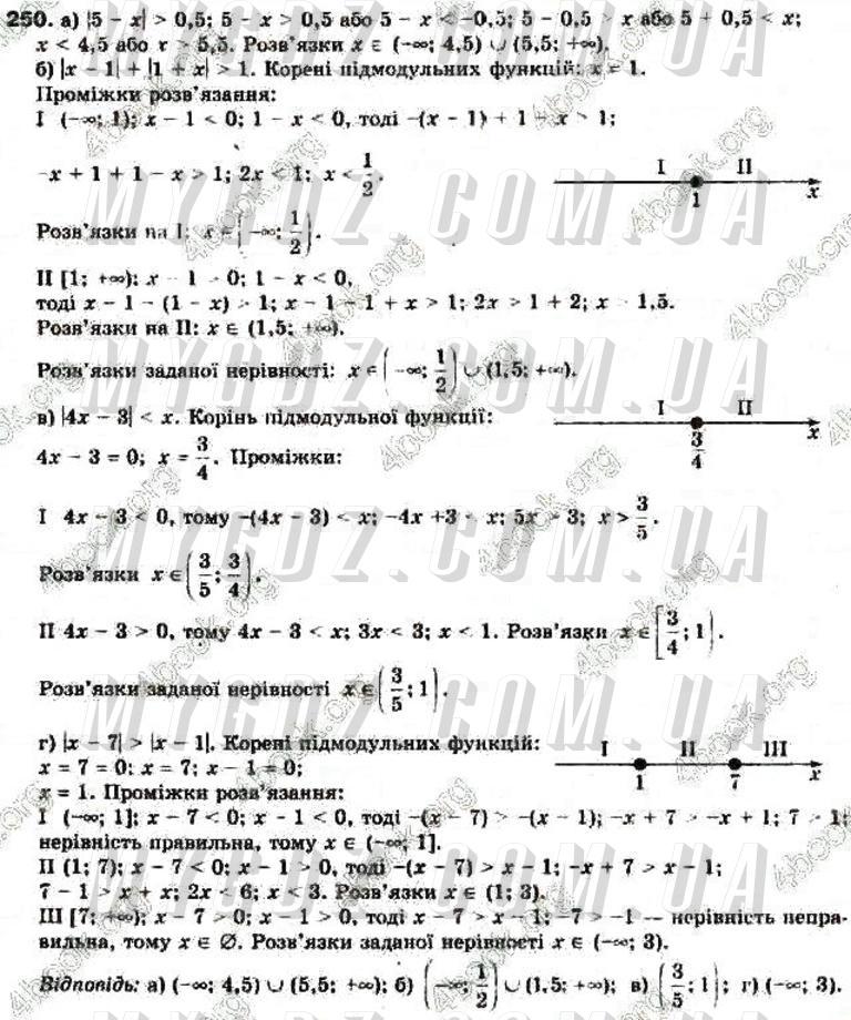 ГДЗ номер 250 до підручника з алгебри Бевз, Бевз 9 клас