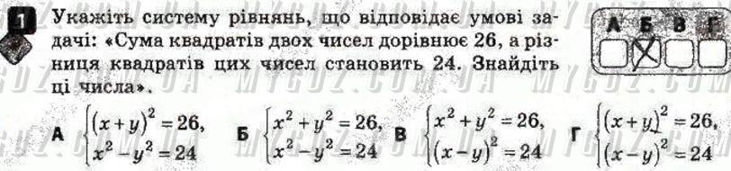 ГДЗ номер 1 до зошита для контролю навчальних досягень учнів з алгебри Корнієнко, Фіготіна 9 клас