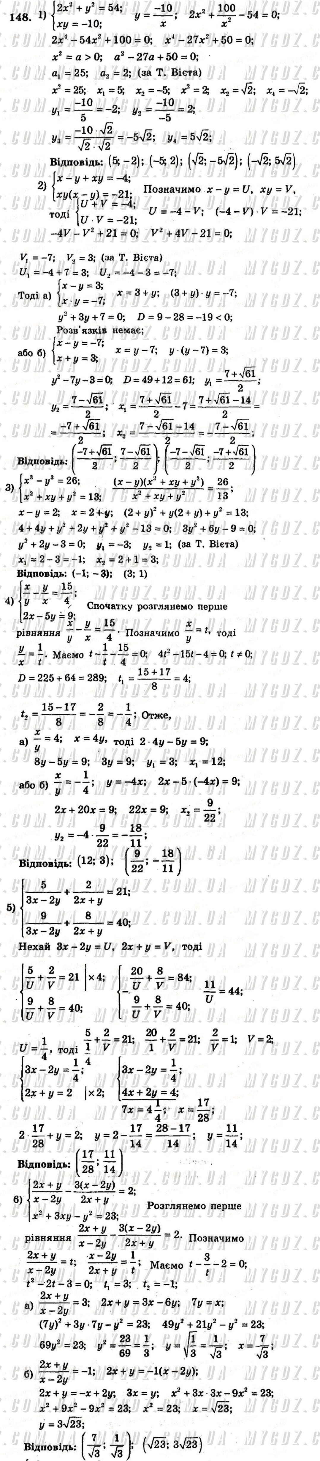 ГДЗ номер 148 до збірника задач і контрольних робіт з алгебри Мерзляк, Полонський 9 клас