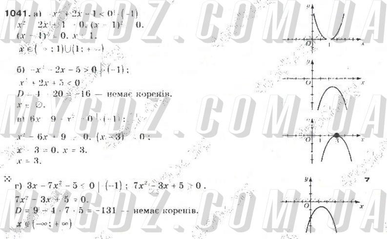ГДЗ номер 1041 до підручника з алгебри Бевз, Бевз 9 клас
