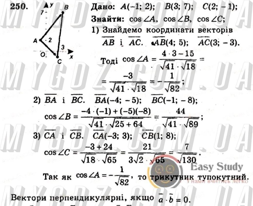 ГДЗ номер 250 до збірника задач і контрольних робіт з геометрії Мерзляк, Полонський 9 клас