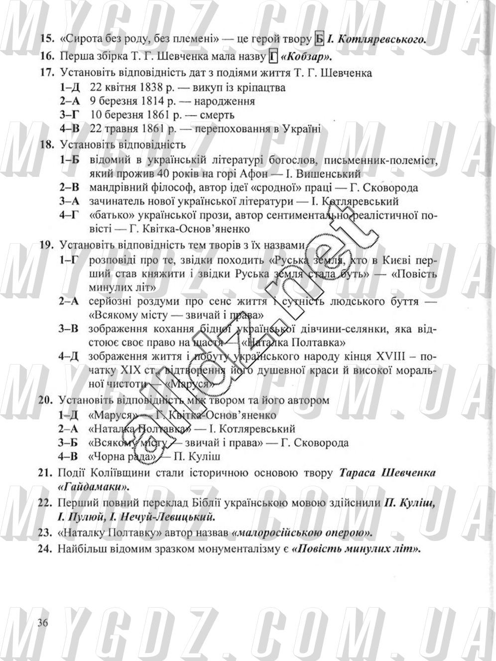 ГДЗ Сторінка 36 2017 Витвицька 9 клас