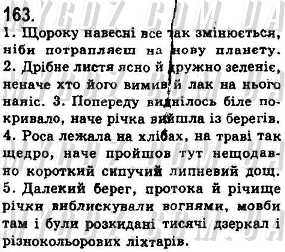 ГДЗ номер 163 до підручника з української мови Бондаренко, Ярмолюк 9 клас
