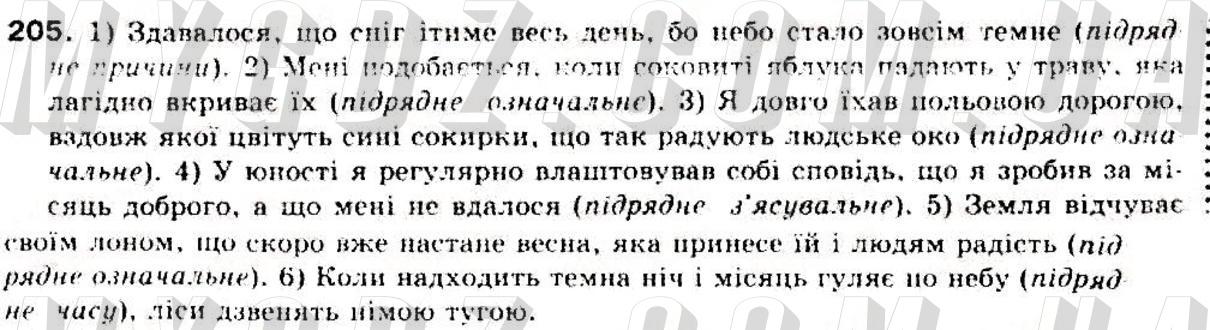 ГДЗ номер 205 до підручника з української мови Заболотний, Заболотний 9 клас