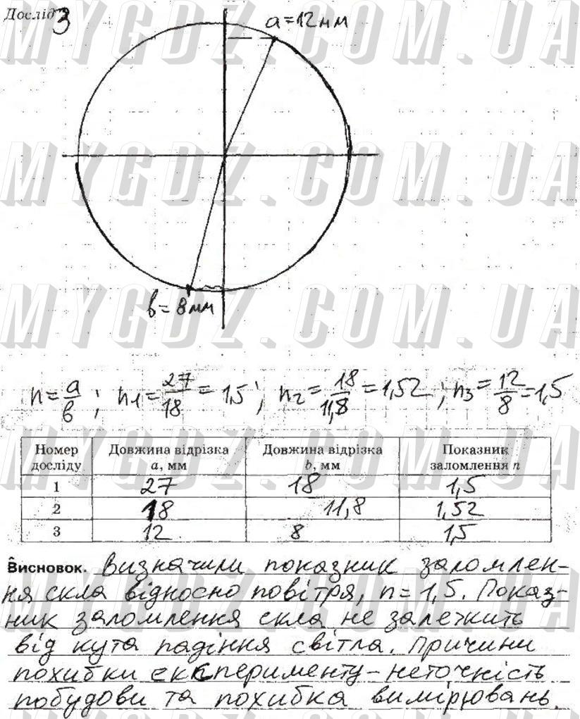 ГДЗ номер 3 до зошита для лабораторних робіт з фізики Божинова, Кірюхіна 9 клас