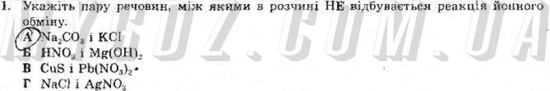 ГДЗ номер 1 до тест-контролю з хімії Титаренко 9 клас
