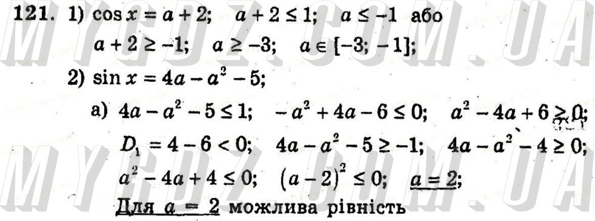ГДЗ номер 121 2011 Мерзляк, Полонський 10 клас